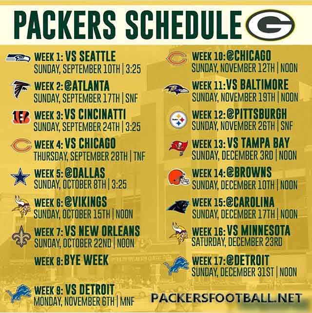 Green Bay Packers schedule 2017