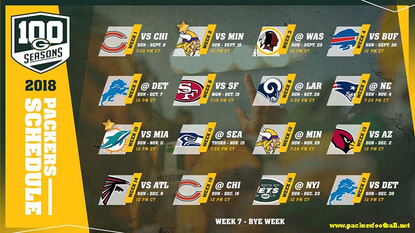 Green Bay Packers game schedule